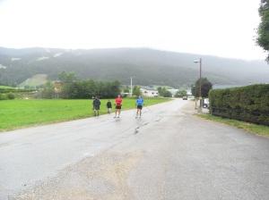 Colin et Etienne en finissent pour cette séance de ski roues classique